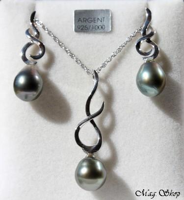 Avapeihi Parure Argent Rhodié 925  3 Perles de Tahiti Modèle 2 MAG.SHOP