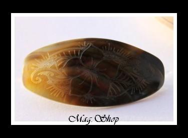 Barrette à Cheveux Heimiri  Fleur de Frangipanier Nacre de Tahiti Modèle 8 MAG.SHOP