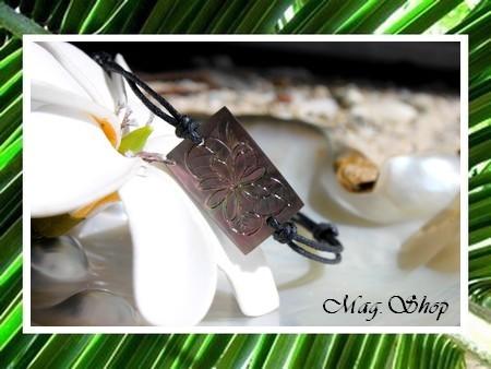 Bracelet Moorea Gravé Fleur de Tiaré Nacre de Tahiti 2.5cm MAG.SHOP