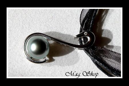Collier Cygne  Pendentif  Argent Rhodié 925 Perle Cerclée de Tahiti MAG.SHOP