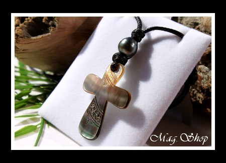 Croix Puutara Collier Nacre & Perle de Tahiti Modèle 1 MAG.SHOP