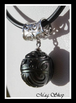 Faaroa Collier Perle Gravée de Tahiti Modèle 2 MAG.SHOP