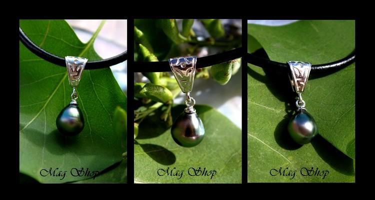Fenua Collection  Collier TIKEHAU  Pendentif Argent Rhodié 925 Perle de TAHITI MAG.SHOP