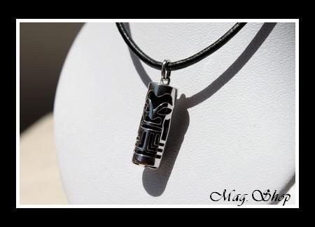 Fenua Collection Collier Tiki Marquisien Argent Rhodié 925 Onyx Véritable MAG.SHOP MOD2