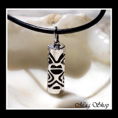 Fenua Collection Collier Tiki Marquisien Argent Rhodié 925 Onyx Véritable MAG.SHOP TAHITI