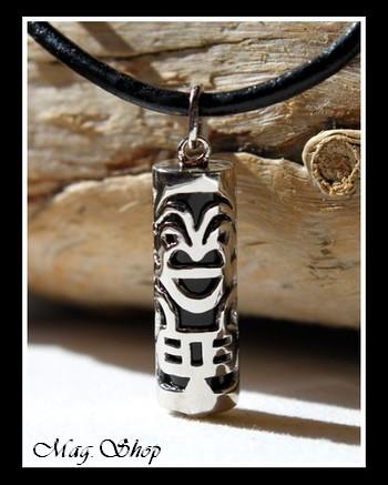 Fenua Collection Collier Tiki Onyx Véritable H3cm  Argent Rhodié 925 MAG.SHOP