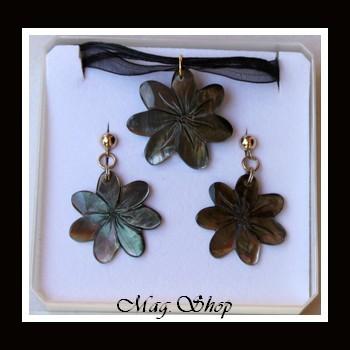 Fleurs de Tiaré Parure Tekava Collier & Boucles D`Oreilles MAG.SHOP