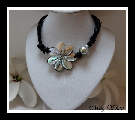 collier hatuona fleur de tiar nacre perle de tahiti. Black Bedroom Furniture Sets. Home Design Ideas