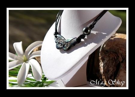 Hatuona Papillon Collier Nacre & Perle de Tahiti Modèle 3 MAG.SHOP
