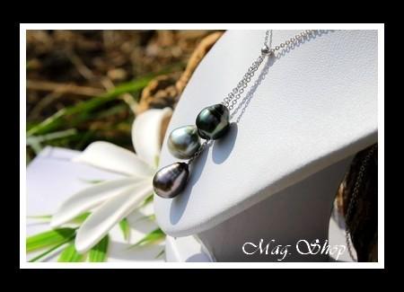 Hereiti Collier 3 Perles de Tahiti Modèle 4 MAG.SHOP