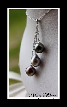 Hiva Oa` Collier Argent Rhodié 925 3 Perles Baroques de Tahiti Modèle 3 MAG.SHOP