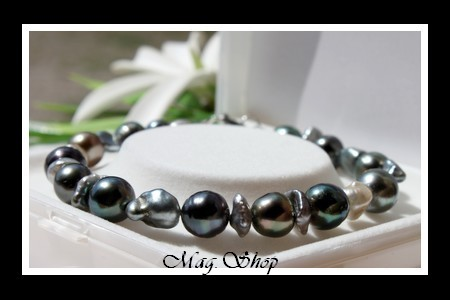 Huahine Bracelet Keishis & Perles de Tahiti Modèle 2 MAG.SHOP