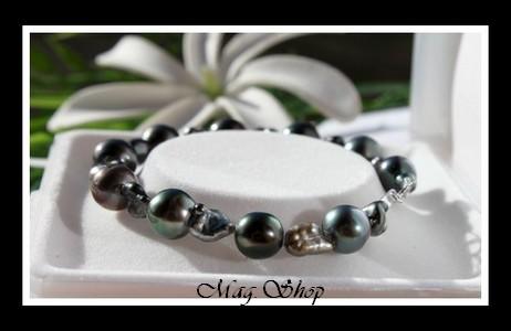 Huahine Bracelet Keishis & Perles de Tahiti Modèle 3 MAG.SHOP