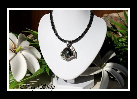 Huître Argent Rhodié 925 Collier  Perle Ronde Gravée de Tahiti MAG.SHOP