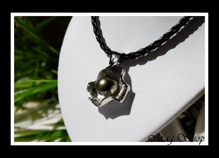 Huître Argent Rhodié 925 Collier Perle de Tahiti reflets Gris Verts MAG.SHOP