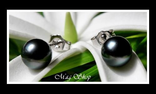 Kamaka Boucles D`Oreilles Argent Rhodié 925 Perles de Tahiti Modèle 1 MAG.SHOP TAHITI