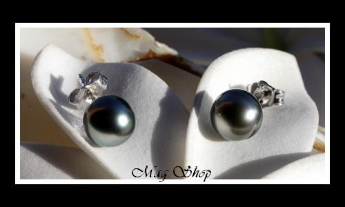 Kamaka Boucles D`Oreilles Argent Rhodié 925 Perles de Tahiti Modèle 3 MAG.SHOP
