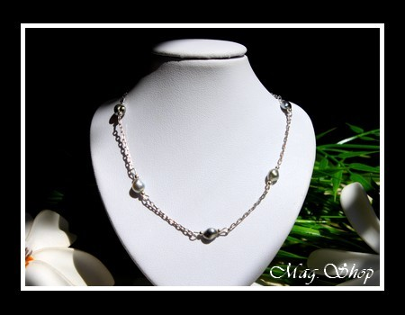 KEISHIS Collection  Collier Nuku Hiva 5 Keishis 6mmA Argent Rhodié 925 MAG.SHOP