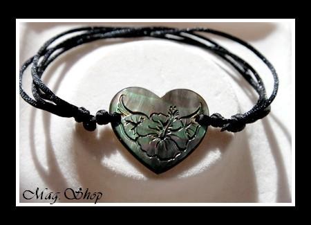 Marquises Collection  Bracelet Coeur Fleur Hibiscus Nacre de Tahiti 2.5cm MAG.SHOP