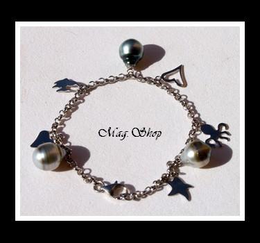 Mer Bracelet la Argent Rhodié 925 3 Perles de Tahiti MAG.SHOP