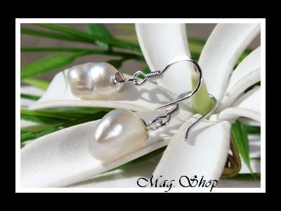 Mihiroa Boucles d`Oreilles Argent Rhodié 925 2 Perles Keishis de Tahiti Modèle 1 MAG.SHOP