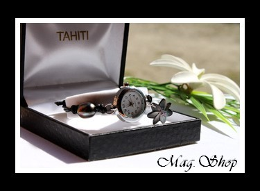 Montre Tiarenui Perle Nacre Fleur De Tiare De Tahiti