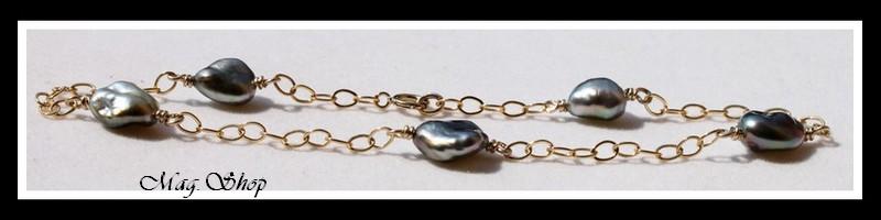 Nuku Hiva Chevillère Gold Filled 5 Perles Keishis de Tahiti Modèle 1 MAG.SHOP
