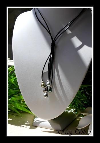 Pacifique Collection  Collier Hiva Oa` 5 Perles Cerclées de Tahiti - Intercalaires Argent 925 MAG.SHOP