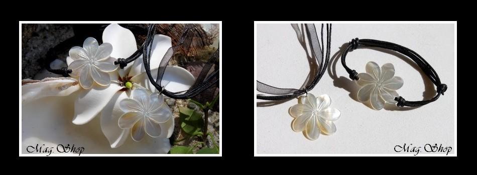 Parure Collier & Bracelet Fleurs de Tiaré Nacre de Tahiti Reflets Clairs 3cm MAG.SHOP TAHITI