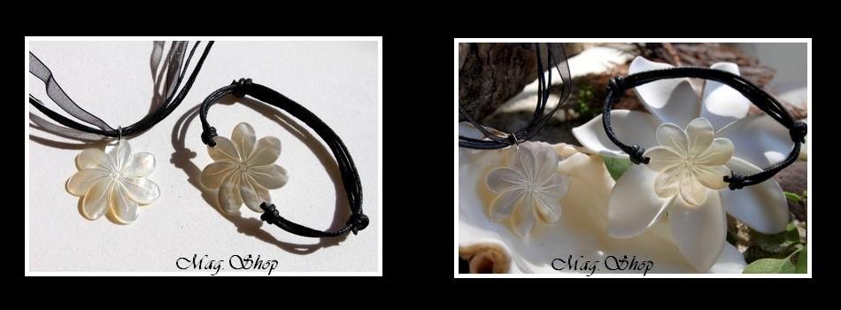 Marquises Collection  Parure Collier & Bracelet Fleurs de Tiaré Nacre de Tahiti Reflets Clairs 3cm MAG.SHOP TAHITI