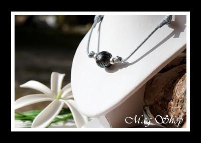 Poevai Collier Surfeur Fleur de Tiaré Perle de Tahiti Gravée Modèle 5 MAG.SHOP