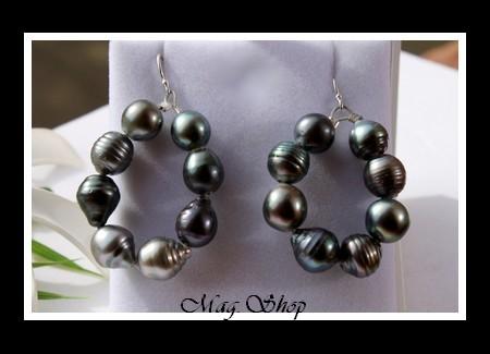 Polynésie Boucles D`Oreilles Papeete 16 Perles Baroques-Cerclées de Tahiti Argent Rhodié 925 MAG.SHOP