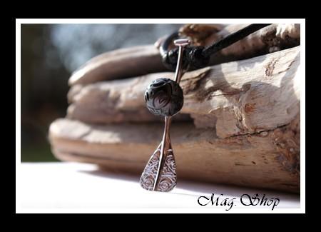 Rame Tiki Mekiro Collier Perle Gravée de Tahiti MAG.SHOP