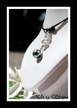Serpent Pendentif Argent Rhodié 925 Perle de Tahiti MAG.SHOP
