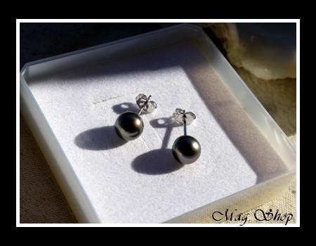Silver Sea Collection Boucles D`Oreilles Kamaka Argent Rhodié 925 Perles Rondes de Tahiti MAG.SHOP TAHITI