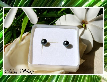 Silver Sea Collection Boucles d`Oreilles Kamaka Perles Rondes de Tahiti MAG.SHOP