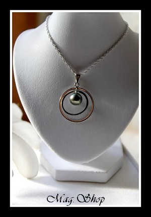 Silver sea Collection  Parure Avamoa (Chaîne+Pendentif+Boucles d`Oreilles) Argent Rhodié 925  3 Perles Baroques de Tahiti MAG.SHOP