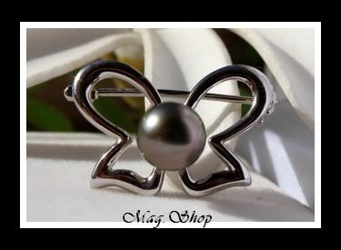 Tahiata Broche Papillon Argent Rhodié 925 Perle de Tahiti Modèle 1 MAG.SHOP