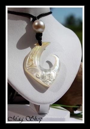 Teano Tiki Collier Hameçon Nacre & Perle de Tahiti Modèle 6 MAG.SHOP