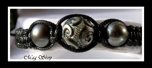 Tetupaia Bracelet Tortue 3 Perles de Tahiti Modèle 1 MAG.SHOP