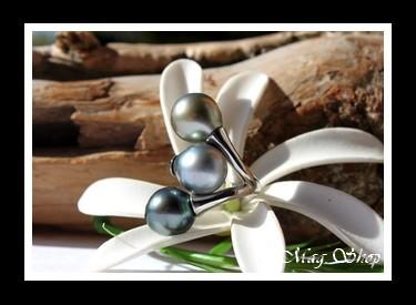 Titaina Bague Acier 3 Perles de Tahiti MAG.SHOP