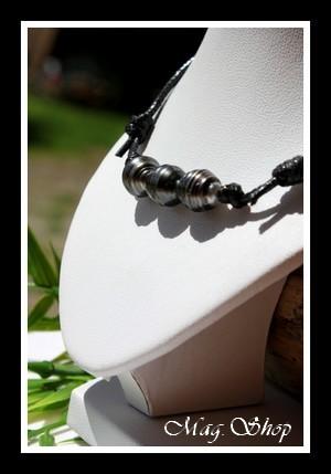 Toopua Collier Surfeur 3 Perles Cerclées de Tahiti Modèle 2 MAG.SHOP